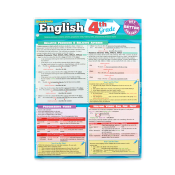 BarCharts, English 4th Grade Laminated Quick Study Guide, 8.5 x 11 Inches, 6 Pages, Grade 4