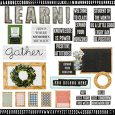 Farmhouse Lane Collection, Classroom Bulletin Board Set, Customizable, 136 Pieces