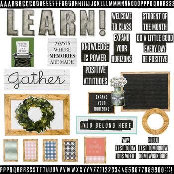 Farmhouse Lane Collection, Classroom Bulletin Board Set, Customizable, 136 Pieces