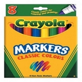 Crayola Classic Colors Broad Line Markers, Assorted Colors, 8 Count