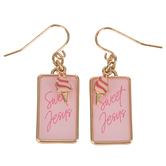 Glitter and Grace, Sweet Jesus with Ice Cream Cone Dangle Earrings, Zinc Alloy, Pink and Gold