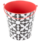 Farmhouse Lane Collection, Large Bucket, 8 x 8.75-inch, Black and White Tile with Red