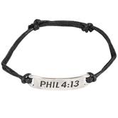 Soul Anchor, Philippians 4:13 Black Cords of Faith Bracelet, 7 1/2 inches