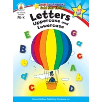 Home Workbooks Gold Star Edition Activity Book: Letters Uppercase and Lowercase, 64 Pages, Grades PreK-K