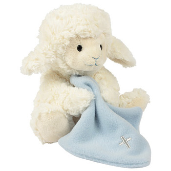 Musical Plush Toy, Jesus Loves Me Lamb with Blanket, by Nat & Jules, Cream and Blue, 8 inches