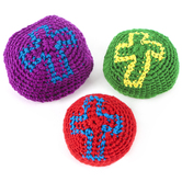 Fun Express, Knitted Religious Cross Kick Balls, Assorted Colors, 2-Inches, Grades K-8