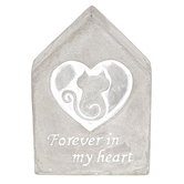 Forever In My Heart Cat Tabletop Plaque, Concrete, Gray & White, 3 1/4 x 4 3/4 inches
