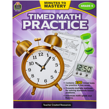 Teacher Created Resources, Minutes to Mastery Timed Math Practice Grade 5, Paperback, 112 Pages
