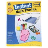 Teacher Created Resources, Instant Math Practice Workbook, Reproducible Paperback, 144 Pages, Grade 4