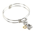H.J. Sherman, Angel with Heart Double Strand Bangle Charm Bracelet, Rhodium Plated, Silver