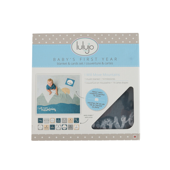 Mary Meyer, Lulujo Move Mountains Baby's First Year Blanket & Card Set, 40 x 40 inches, 14 Cards