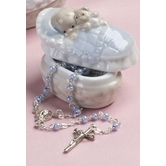 Baby Boy Porcelain Box With Rosary