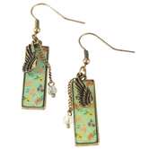 Bella Grace, Floral Pattern Angel Wing Dangle Earrings, Zinc Alloy, Gold-tone