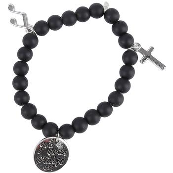 Bella Grace, Get Your Praise On Wrap Charm Bracelet, Zinc Alloy, Black and Silver