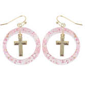 Faith in Bloom, Hoop with Gold Cross Dangle Earrings, Zinc Alloy and Resin, Gold, Pink