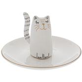 Cat Jewelry Holder, Ceramic, White, 4 7/8 x 2 7/8 Inches