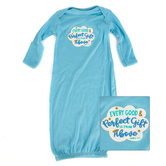New Ewe, James 1:17 Every Good and Perfect Gift Layette Gown, Baby Long Sleeve, Light Blue, Newborn