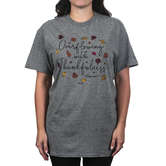Kerusso, Colossians 2:7 Overflowing With Thankfulness, Women's Short Sleeve T-shirt, Graphite Heather, S-3XL