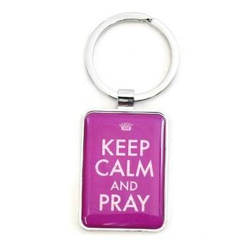 Keep Calm And Pray - Purple Key Chain
