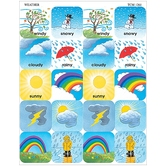 Teacher Created Resources, Weather Stickers, 1 x 1 Inch, Multi-Colored, Pack of 120