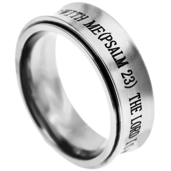 Spirit & Truth, Psalm 23, The Lord is My Shepherd, Men's Spinner Ring, Stainless Steel, Size 12