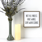 Not All Angels Have Wings Plaque, Ceramic & Wood, White and Black, 8 3/8 x 8 3/8 inches