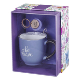 Christian Art Gifts, Be Brave Journal, Mug and Keyring Boxed Gift Set, Purple, 3-Pieces
