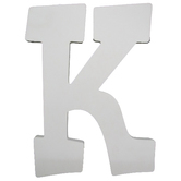 Letter K, White Wood, 9 inches