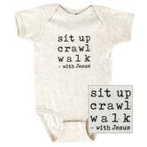 New Ewe, Sit Up Crawl Walk with Jesus, Baby Short Sleeve Onesie, Natural Heather, Newborn-12 Months