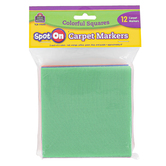 Teacher Created Resources, Spot On Carpet Markers Colorful Squares, Assorted Colors, 12 Pieces, 4 Inches