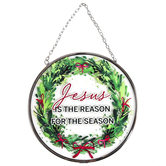 Dicksons, Jesus Is The Reason For The Season Wreath Suncatcher, Green & Red, 6 inches