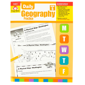 Evan-Moor, Daily Geography Practice Teacher's Edition, Paperback, 160 Pages, Grade 5