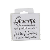 Open Road Brands, Glam-ma Magnet for Grandmother, Tin, White, 2 1/2 x 2 1/2 inches