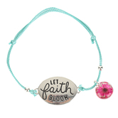 Faith in Bloom, Let Faith Bloom Slide Bracelet, Zinc Alloy, Silver and Turquoise