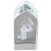 Christian Brands, First Communion Boy Etched Glass Plaque, 1 1/2 x 3 1/4 x 1 1/8 inches