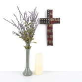 Battered American Flag Wall Cross, Resin, 14 x 7 1/2 inches