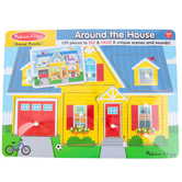 Melissa & Doug, Around the House Sound Puzzle, 8 Pieces, 8 3/4 x 11 3/4 inches, Ages 2 to 4