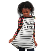 NOTW, Be Still and Know Floral, Kid's Raglan Sleeve T-shirt, Black and White, XS-L
