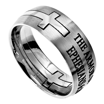Spirit & Truth, Ephesians 6:10-18, Armor of God, Men's Ring, Stainless Steel