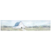 Country Barn Wall Decor, Canvas and MDF, Blue and White, 6 x 29 x 1 1/4 inches