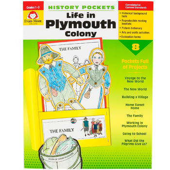 Evan-Moor, History Pockets Life in Plymouth Colony Teacher Reproducible, Paperback, 96 Pages, Grades 1-3