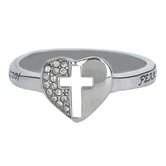 Spirit & Truth, Isaiah 41:10, Padlock Heart, Women's Ring, Stainless Steel, Sizes 5-9