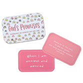 Mary Square, God's Promises Scripture Cards for Girls in Tin, 3 3/4 x 2 3/8 x 1 inches, 52 Cards