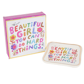 Natural Life, Beautiful Girl Monterey Trinket Dish, Ceramic, Cream, 3 3/4 x 3 3/4 x 1 Inches