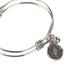 H.J. Sherman, Miraculous Double Strand Bangle Charm Bracelet, Rhodium Plated, Silver