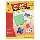Teacher Created Resources, Instant Math Practice Workbook, Reproducible Paperback, 144 Pages, Grade K