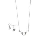 Faithful and Fabulous, Infinity and Heart Necklace and Earring Set, Zinc Alloy, Silver, 20 Inch Chain, 3 Pieces