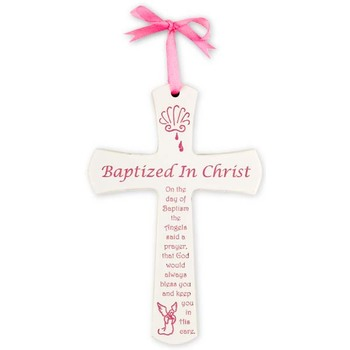 H.J. Sherman, Baptism Wall Cross for Girl, White, 6 x 4 inches