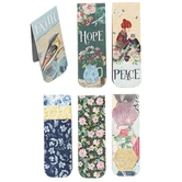 Salt & Light, Cottage Pattern Magnetic Bookmarks, 1 Each of 6 Designs, 4 3/4 x 2 inches Each