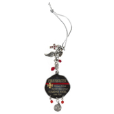 Abbey and CA Gift, Firefighter Car Charm, Metal, Red and Silver, 4 inches